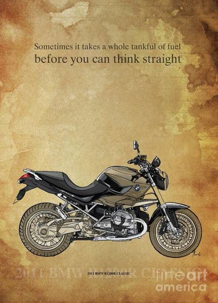 Wall Art - Drawing - 2011 Bmw R1200r Classic, Original Artwork. Motorcycle Quote by Drawspots Illustrations