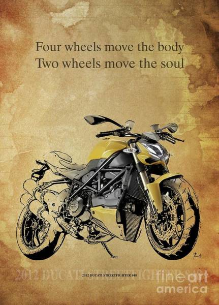Wall Art - Drawing - 2012 Ducati Streetfighter 848, Original Artwork. Motorcycle Quote by Drawspots Illustrations