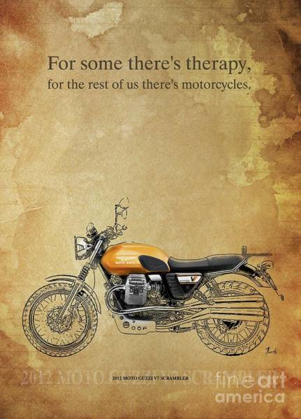 Wall Art - Drawing - 2012 Moto Guzzi V7 Scrambler, Original Artwork. Motorcycle Quote by Drawspots Illustrations