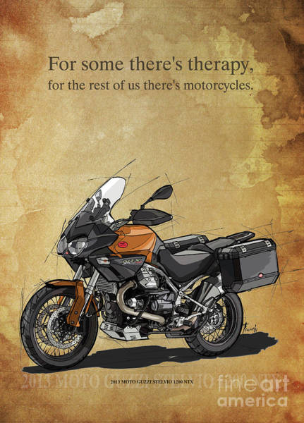 Wall Art - Drawing - 2013 Moto Guzzi Stelvio 1200 Ntx,original Artwork. Motorcycle Quote by Drawspots Illustrations