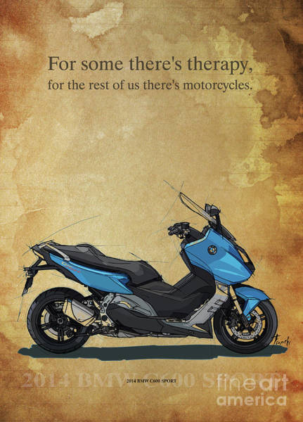 Wall Art - Drawing - 2014 Bmw C600 Sport, Original Artwork. Motorcycle Quote by Drawspots Illustrations