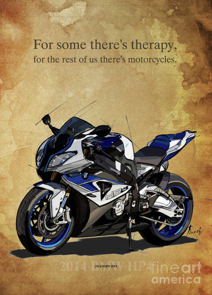 Wall Art - Drawing - 2014 Bmw Hp4, Original Artwork. Motorcycle Quote by Drawspots Illustrations
