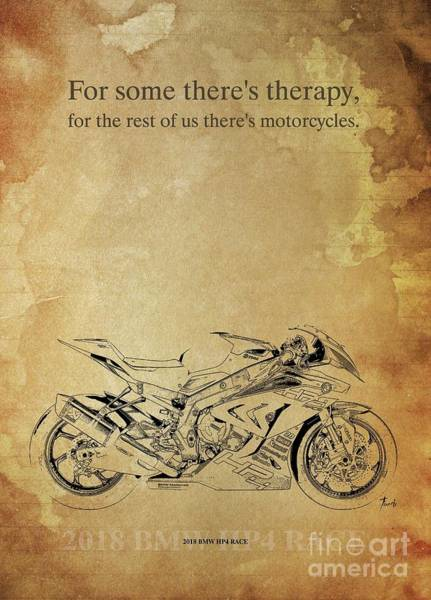 Wall Art - Drawing - 2018 Bmw Hp4 Race, Original Artwork. Motorcycle Quote by Drawspots Illustrations