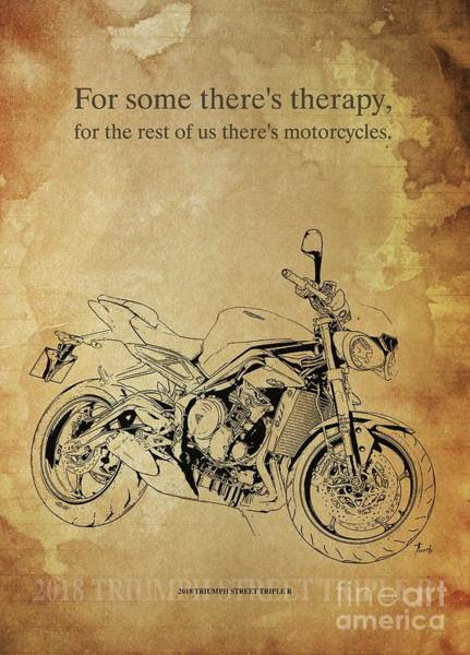 Wall Art - Drawing - 2018 Triumph Street Triple R, Original Artwork. Motorcycle Quote by Drawspots Illustrations