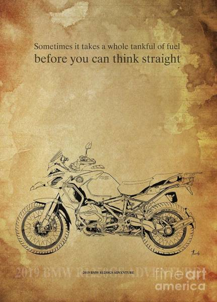 Wall Art - Drawing - 2019 Bmw R1250gs Adventure,original Artwork. Motorcycle Quote by Drawspots Illustrations