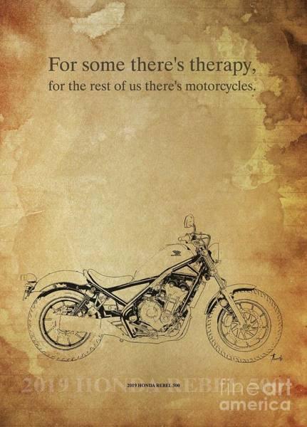 Wall Art - Drawing - 2019 Honda Rebel 500 Original Artwork Motorcycle Quote by Drawspots Illustrations