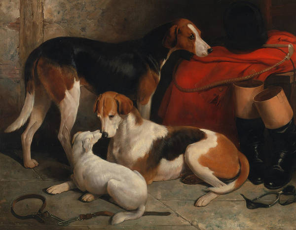 Painting - A Couple Of Foxhounds With A Terrier, The Property Of Lord Henry Bentinck by William Barraud