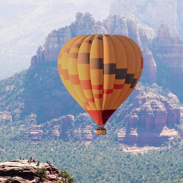 Wicker Basket Digital Art - A Hot Air Balloon Soars Near Sedona, Arizona by Derrick Neill