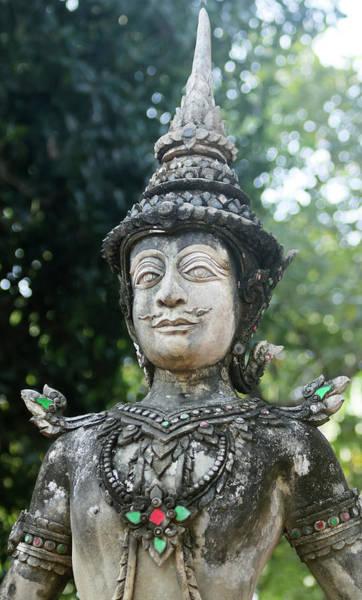 Chang Mai Wall Art - Photograph - A Kinnara Statue, Wat Chang Kam Phra Wihan, Wiang Kum Kam, Chian by Derrick Neill