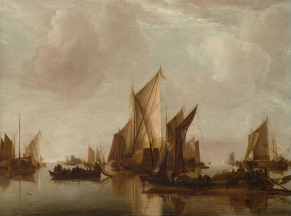 Wall Art - Painting - A State Yacht And Other Craft In Calm Water by Jan van de Cappelle