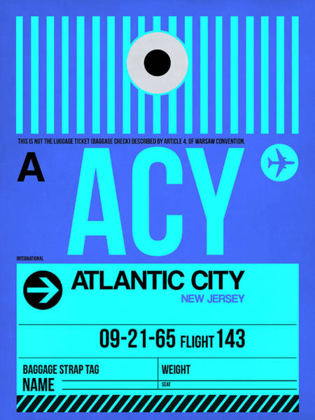 Wall Art - Digital Art - Acy Atlantic City Luggage Tag I by Naxart Studio
