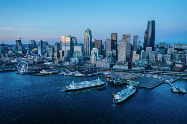 King Harbor Photograph - Aerial View Of A City, Seattle, King by Panoramic Images