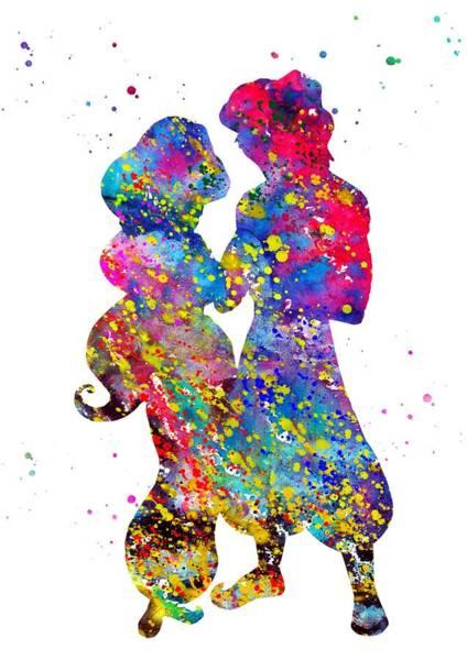 Wall Art - Digital Art - Aladdin And Jasmine by Erzebet S