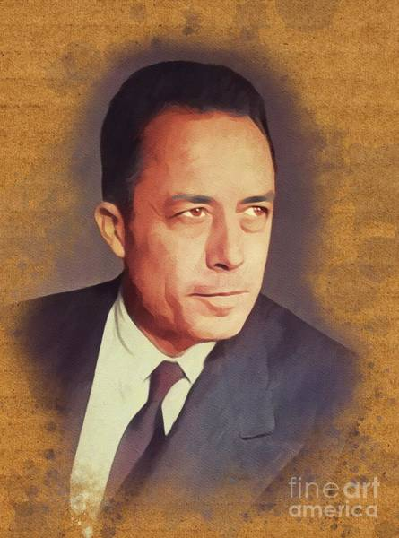 Wall Art - Painting - Albert Camus, Literary Legend And Philosopher by John Springfield