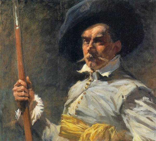 Painting - Albert Edelfelt Self Portrait In Th Century Costume by Albert Edelfelt