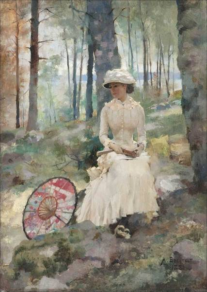 Wall Art - Painting - Albert Edelfelt, Under The Birches by Albert EDELFELT