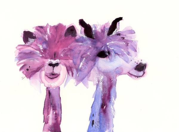 Painting - 2 Alpacas by Dawn Derman