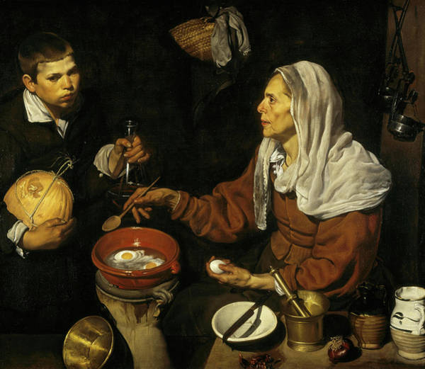 Protein Painting - An Old Woman Cooking Eggs by Diego Velazquez