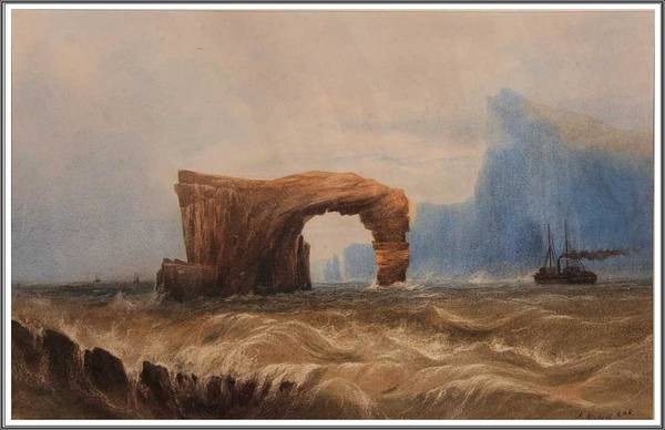 Wall Art - Painting - Andrew Nicholl 1804-1886 Steamer Off Staffa. by Andrew Nicholl