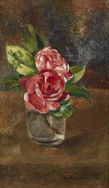 Wall Art - Painting - Anna Munthe-norstedt 1854-1936 Roses In A Glass by Anna Munthe-norstedt