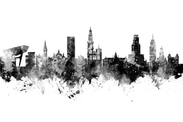 Wall Art - Digital Art - Antwerp Belgium Skyline by Michael Tompsett