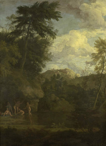 Painting - Arcadian Landscape With Diana Bathing by Johannes Glauber