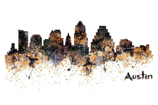 Wall Art - Painting - Austin Skyline  by Marian Voicu