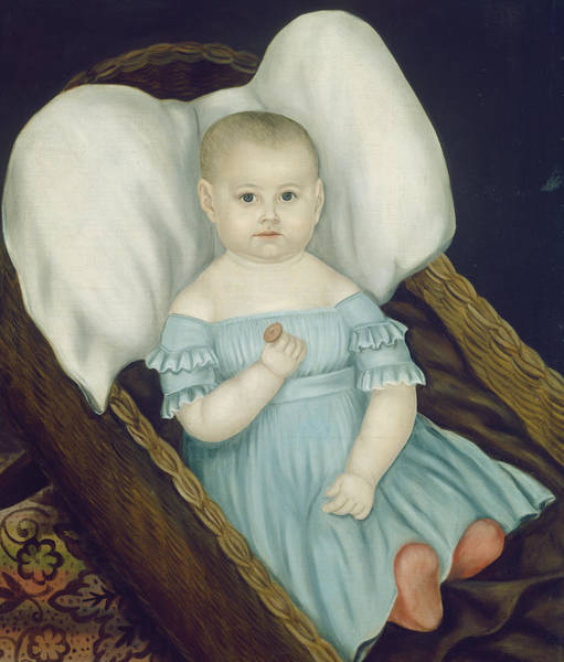 Painting - Baby In Wicker Basket by Joseph Whiting Stock