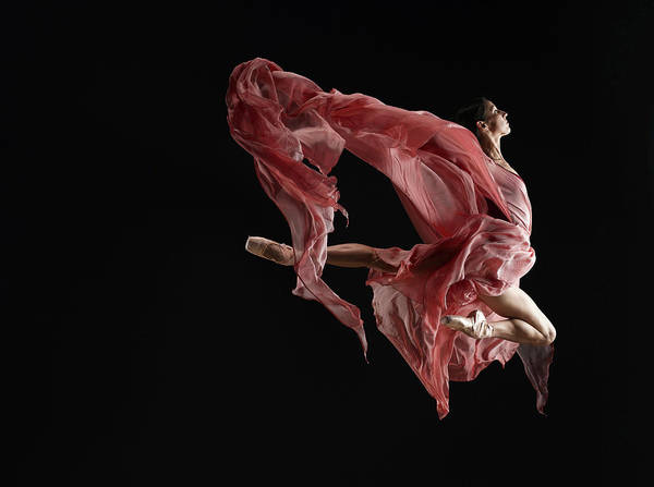 Red Dress Photograph - Ballet Dancer Wearing Flowing Dress In by Ryan Mcvay