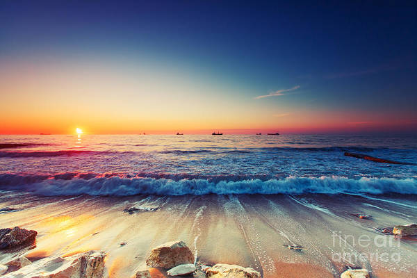 Hdr Wall Art - Photograph - Beautiful Sunrise Over The Horizon by Valentin Valkov