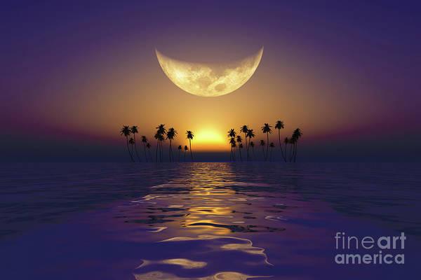Wall Art - Photograph - Big Yellow Moon Over Purple Sunset by Aleksey Tugolukov