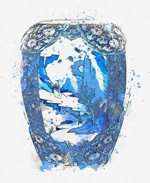 Painting - Blue And White  Makara Jar Watercolor By Ahmet Asar by Ahmet Asar