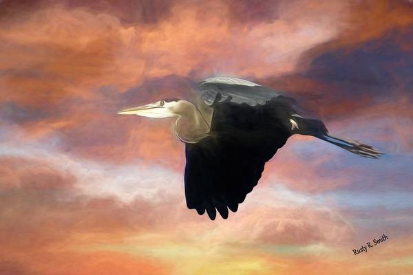 Digital Art - Blue Heron In Flight. by Rusty R Smith