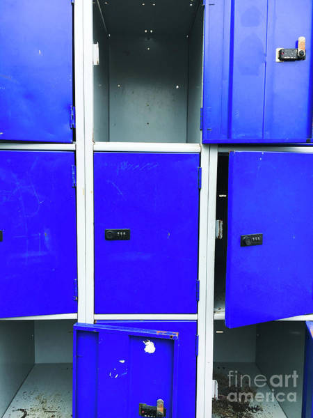 Wall Art - Photograph - Blue School Lockers by Tom Gowanlock
