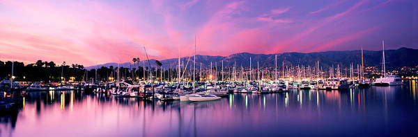 Wall Art - Photograph - Boats Moored In Harbor At Sunset, Santa by Panoramic Images