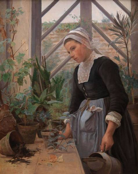 Wall Art - Painting - Breton Girl Looking After Plants In The Hothouse  by Anna Petersen