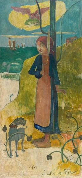 Wall Art - Painting - Breton Girl Spinning by Paul Gauguin