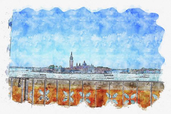 Wall Art - Digital Art - Bridge #watercolor #sketch #bridge #river by TintoDesigns
