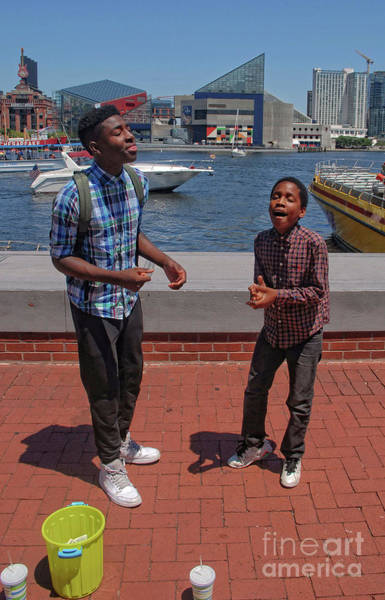 Photograph - 2 Bros. Busking On Baltimore's Inner Harbor 2 by Walter Neal