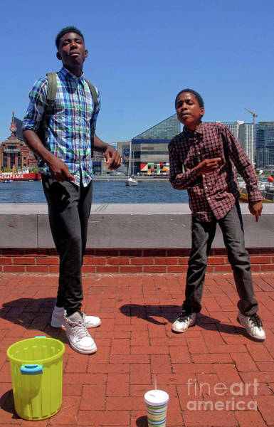 Photograph - 2 Bros. Busking On Baltimore's Inner Harbor 1 by Walter Neal