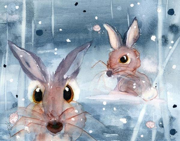 Painting - 2 Bunnies In The Snow by Dawn Derman