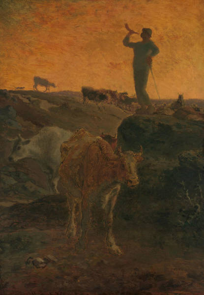 Wall Art - Painting - Calling The Cows Home by Jean-Francois Millet