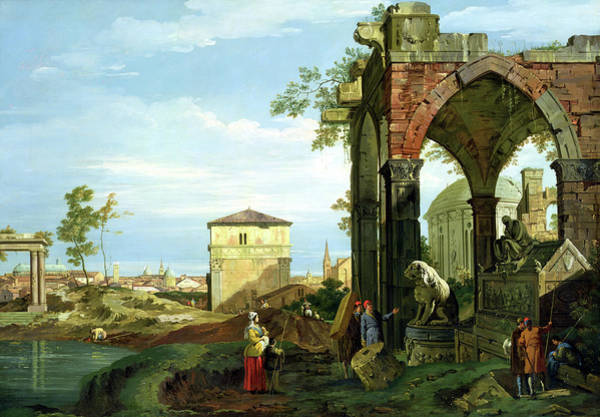 Collapse Painting - Capriccio With Motifs From Padua by Canaletto