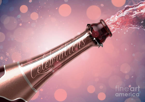 Wall Art - Digital Art - Champagne Bottle Celebrations by Allan Swart