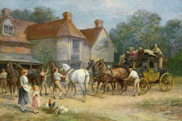 Wall Art - Painting - Changing Horses by Heywood Hardy