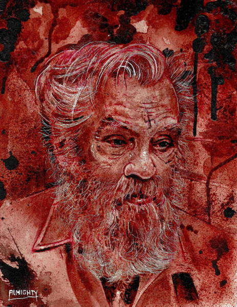 Serial Killer Painting - Charles Manson Port Dry Blood by Ryan Almighty