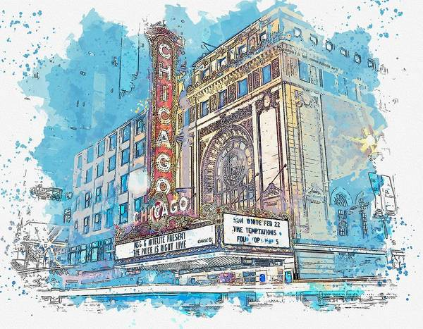 Lake District Painting - Chicago Downtown -  Watercolor By Ahmet Asar by Ahmet Asar