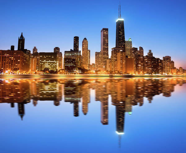 Lake Photograph - Chicago Skyline By Night by Pawel.gaul