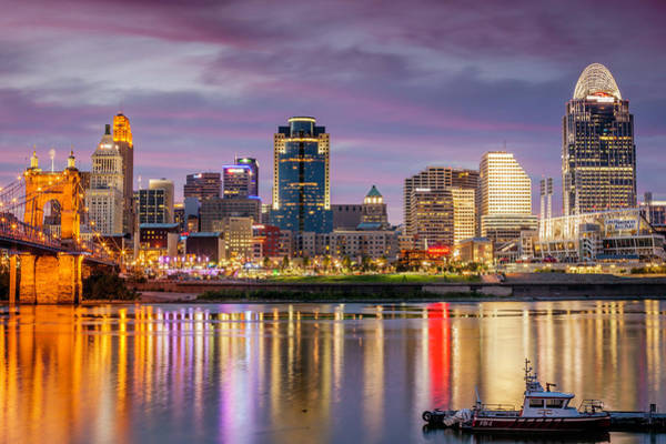Awe Photograph - City At Dusk With River And Bridge by Bob Stefko