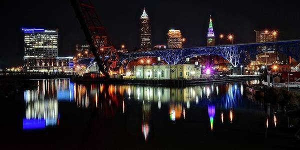 Playhouse Photograph - Cleveland Over The Cuyahoga by Frozen in Time Fine Art Photography